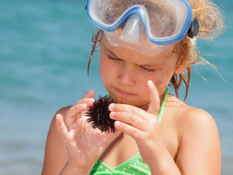 bambina con maschera subacquea in testa gioca con un riccio di mare