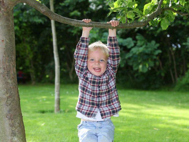 bambino biondo felice appeso ad un ramo in un giardino