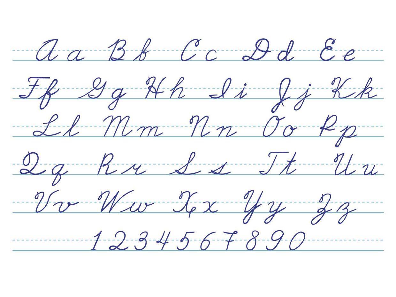 lettere dell'alfabeto scritte in maiuscolo e minuscolo corsivo